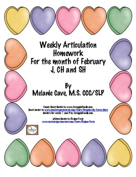 Weekly Articulation Homework for February J, CH, SH