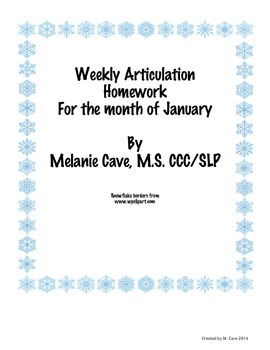 Weekly Articulation Homework for January /r/