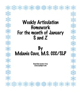Weekly Articulation Homework for January /s/ and /z/