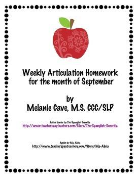 Weekly Articulation Homework for September /r/