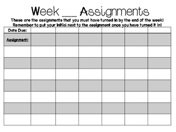 Weekly Assignment Checklists- Includes Editable