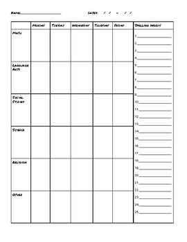 Weekly Assignment Notebook Sheet, Planner Replacement