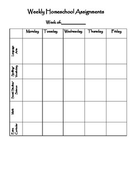Weekly Homeschool Assignment Planner