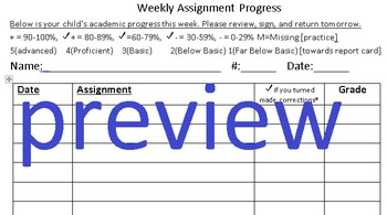 Weekly Assignment Progress Sheet