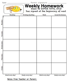 Weekly Assignment Sheet by Teacheropolis by Jen Williams | TpT