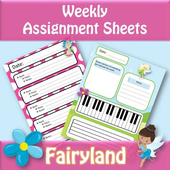 Weekly Assignment Sheets - Fairyland