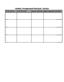 Weekly Assignment/Test/Quiz Tracker
