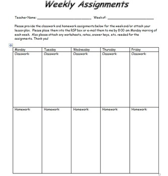 Weekly Assignments (RSP and General Education Teacher Communication form)