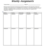 Weekly Assignments (RSP and General Education Teacher Comm