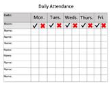 Weekly Attendance Sheet