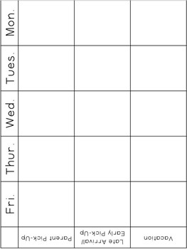 Weekly Attendance and Dismissal Chart