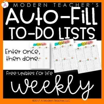 Auto Fill Weekly To-Do Lists Aug2017-July2018 Free Updates Watercolor Theme only