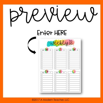 Auto Fill Weekly To Do Lists Aug 2017- July 2018 Free Updates BUNDLE