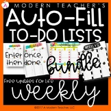 Auto Fill Weekly To Do Lists Aug 2017- July 2018 Free Upda
