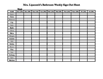 weekly bathroom sign out sheet by brittany lipscomb tpt