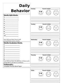 Weekly Behavior Calendar