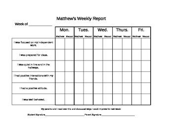 Weekly Behavior Chart
