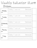 Weekly Behavior Chart & Behavior Think Sheet  - Improve Behavior Management