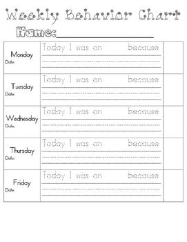 Weekly Behavior Chart & Behavior Think Sheet  - Improve Be