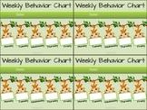 Jungle Themed Weekly Behavior Chart