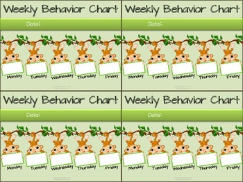 Jungle Themed Weekly Behavior Chart