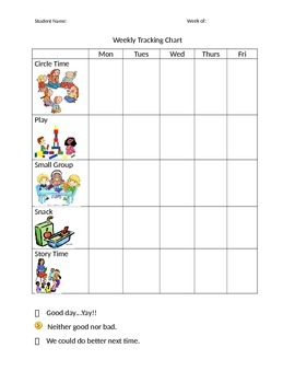 Weekly Behavior Chart- Primary