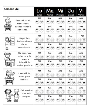 Weekly Behavior Chart(Spanish)