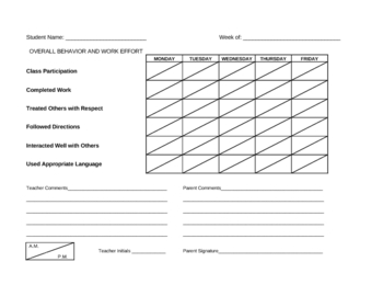 Weekly Behavior Chart - Targeted Behaviors with AM/PM