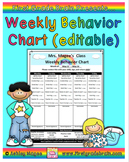 Weekly Behavior Chart (editable and FREE)