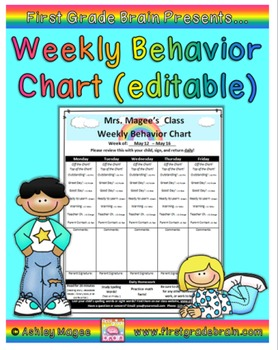 Weekly Behavior Chart (editable and FREE)