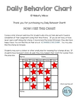 Weekly Behavior Chart to Use with Stamps or Happy Sad Okay Faces