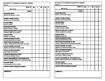 Weekly Behavior Check Sheet in English & Spanish