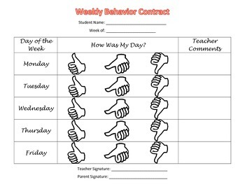 Weekly Behavior Contract