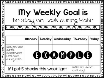Weekly Behavior Goal Chart Editable