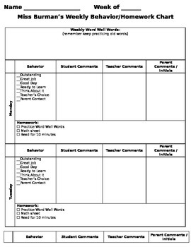 Weekly Behavior Homework Sheet Using A Clip Chart EDITABLE