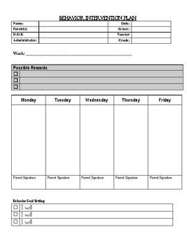 Weekly Behavior Intervention Plan Elementary Reward/Consequences