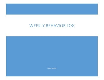 Weekly Behavior Log