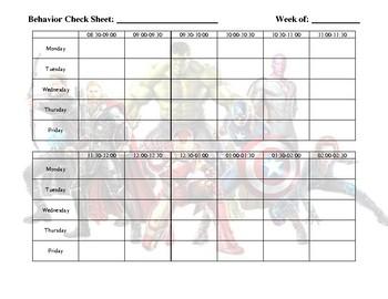Weekly Behavior Log - Avengers Theme