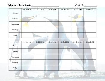 Weekly Behavior Log - Penguin Theme