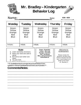 Weekly Behavior Log for Elementary