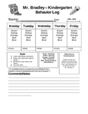 Weekly Behavior Log for Elementary