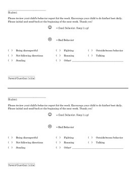 Weekly Behavior Management Parent Report