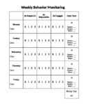 Weekly Behavior Monitoring Chart