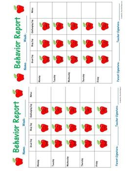 Weekly Behavior Reflection Report / Parent Communication (Apple Theme)