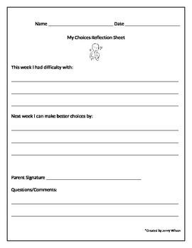 Weekly Behavior Reflection Sheet