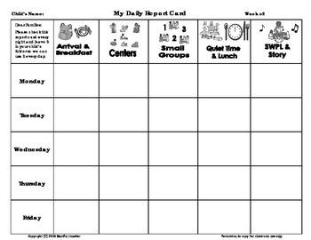 Weekly Behavior Report Card