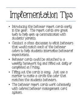 Weekly Behavior Report Cards