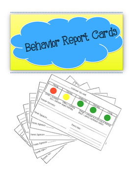 Weekly Behavior Report Cards