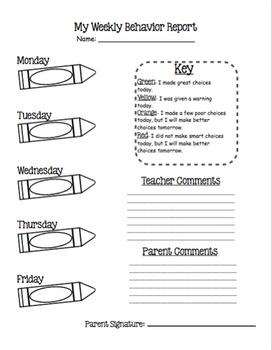Weekly Behavior Report *Editable*