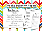 Weekly Behavior Report *Editable*